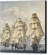 Battle Of Trafalgar Canvas Print by Robert Dodd