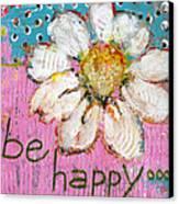 Be Happy Daisy Flower Painting Canvas Print by Blenda Studio