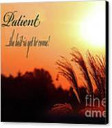 Be Patient Canvas Print by Cathy  Beharriell
