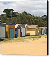 Beach Boxes Mount Martha Canvas Print by Rachael Curry