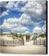 Beach Clouds And Fence Canvas Print by Vicki Jauron