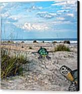 Beach Pals Canvas Print by Betsy Knapp