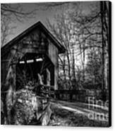 Bean Blossom Bridge Bw Canvas Print by Mel Steinhauer