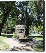 Bear Flag Statue At Sonoma Plaza In Downtown Sonoma California 5d24432 Canvas Print by Wingsdomain Art and Photography