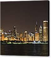 Beautiful Chicago Skyline With Fireworks Canvas Print by Adam Romanowicz