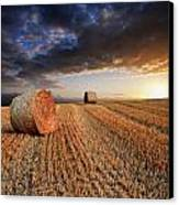 Beautiful Hay Bales Sunset Landscape Digital Painting Canvas Print