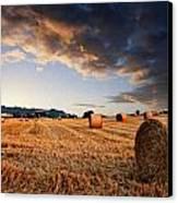 Beautiful Hay Bales Sunset Landscape Digital Paitning Canvas Print