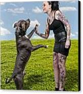 Beautiful Woman And Pit Bull Canvas Print by Rob Byron