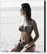 Beautiful Woman On The Beach Canvas Print by Jelena Jovanovic