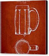 Beer Mug Patent From 1876 - Red Canvas Print by Aged Pixel