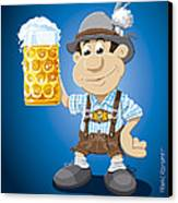 Beer Stein Lederhosen Oktoberfest Cartoon Man Canvas Print