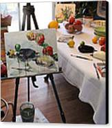 Behind The Scene - Eggplants And Fruits Canvas Print by Becky Kim