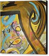Being Easy Original Abstract Colorful Figure Painting For Sale Yellow Umber Blue Pink Canvas Print