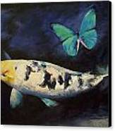 Bekko Koi And Butterfly Canvas Print by Michael Creese