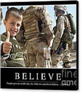 Believe Inspirational Quote Canvas Print
