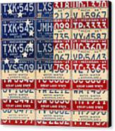 Betsy Ross American Flag Michigan License Plate Recycled Art On Red Board Canvas Print by Design Turnpike