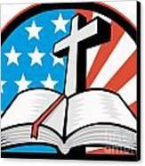 Bible With Cross American Stars Stripes Canvas Print by Aloysius Patrimonio