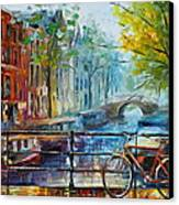 Bicycle In Amsterdam Canvas Print by Leonid Afremov