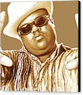 Biggie Smalls Stylised Pop Art Colour Drawing Poster Canvas Print by Kim Wang
