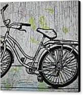 Bike 5 On Map Canvas Print by William Cauthern