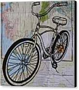 Bike 6 On Map Canvas Print by William Cauthern