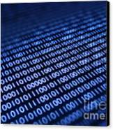 Binary Code On Pixellated Screen Canvas Print