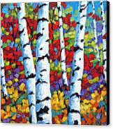 Birches In Abstract By Prankearts Canvas Print by Richard T Pranke
