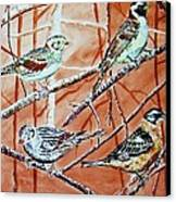 Bird Foursome Canvas Print by Linda Vaughon
