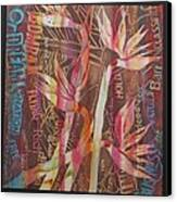 Bird Of Paradise With Lettering Canvas Print by Beena Samuel