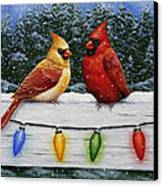 Bird Painting - Christmas Cardinals Canvas Print by Crista Forest
