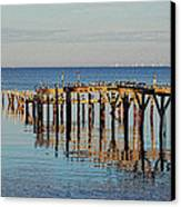 Birds On Old Dock On The Bay Canvas Print