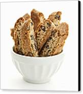Biscotti Cookies In Bowl Canvas Print