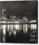 Black And White Image Of Nashville Tn Skyline  Canvas Print by Jeremy Holmes
