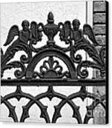 Black And White Ironwork Canvas Print by Alys Caviness-Gober