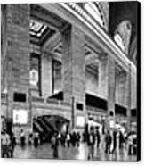 Black And White Pano Of Grand Central Station - Nyc Canvas Print by David Smith