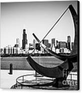 Black And White Picture Of Adler Planetarium Sundial Canvas Print by Paul Velgos