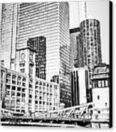Black And White Picture Of Chicago At Lasalle Bridge Canvas Print