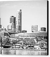 Black And White Picture Of Chicago Skyline Canvas Print by Paul Velgos