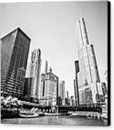 Black And White Picture Of Downtown Chicago Canvas Print
