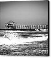 Black And White Picture Of Huntington Beach Pier Canvas Print by Paul Velgos
