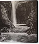 Black And White Waterfall Canvas Print by Svetlana Rudakovskaya