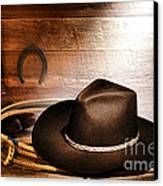 Black Felt Cowboy Hat Canvas Print by Olivier Le Queinec