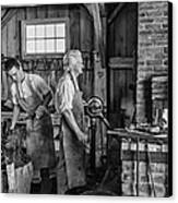 Blacksmith And Apprentice 2 Bw Canvas Print