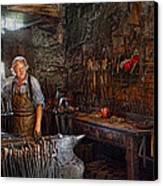 Blacksmith - Working The Forge  Canvas Print by Mike Savad