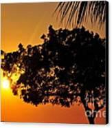 Blazing Red Sea Sunset Canvas Print by George Paris