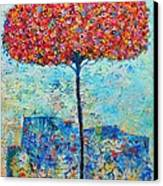 Blooming Beyond Known Skies - The Tree Of Life - Abstract Contemporary Original Oil Painting Canvas Print by Ana Maria Edulescu