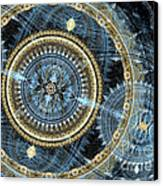 Blue And Gold Mechanical Abstract Canvas Print