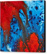 Blue And Red Abstract 3 Canvas Print by Sharon Cummings