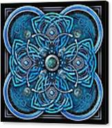 Blue And Silver Celtic Cross Canvas Print by Richard Barnes