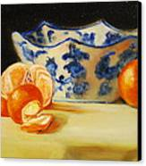 Blue And White Bowl And Tangerines Canvas Print by Ann Simons